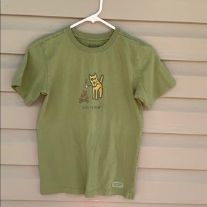 Good Vibes by Life is Good boy's green tee shirt